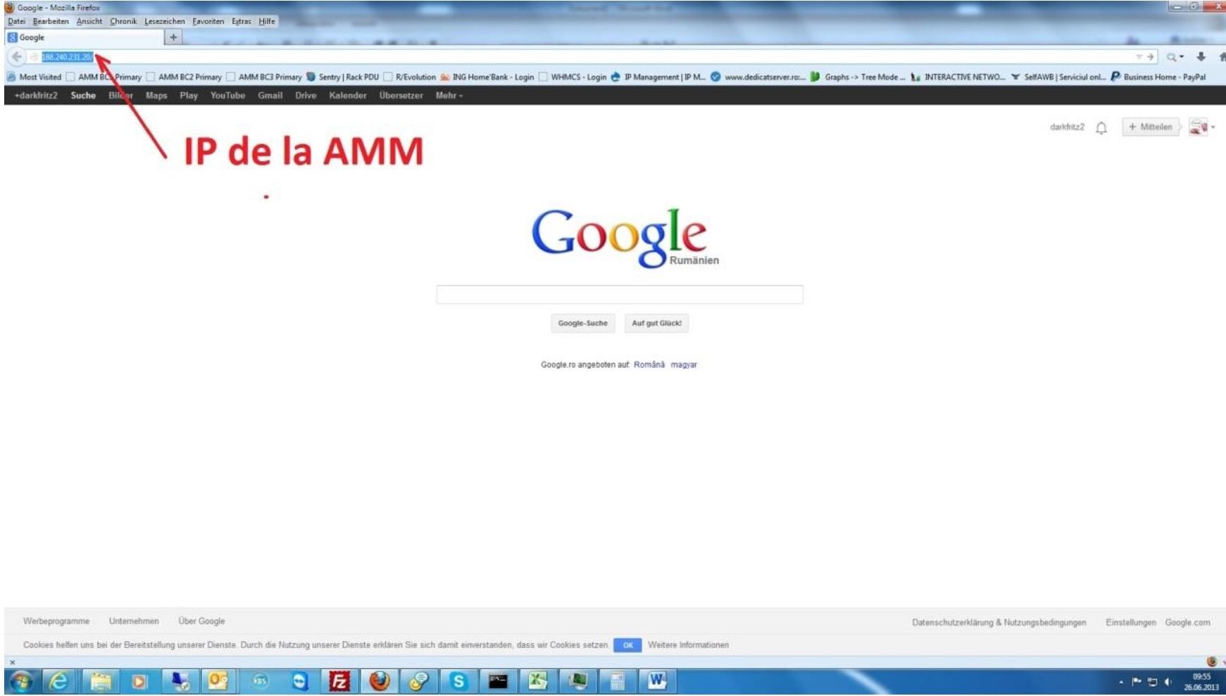 acces dedicat server prin ibm AMM